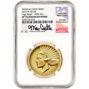 2019 W American Liberty Gold High Relief 1 Oz 100 Ngc Sp70 Enhanced Castle