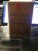 Vintage El Producto Queens Wooden Hinged Cigar Box With Glass Cigar Tubes