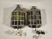 2 Vintage 1960 Denmark Arts And Crafts Stained Glass Wall Sconce Lamp Light