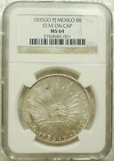 Ngc Ms64 Mexico 1835 Go Pj Cap And Ray 8 Reales Silver Coin - Rare Variety