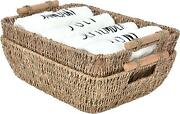 Hand-woven Large Storage Baskets With Wooden Handles 2-pack