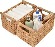 Hand-woven Storage Baskets With Wooden Handles, Water Hyacinth Wicker Baskets