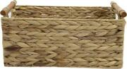 Storage Baskets Water Hyacinth Hand-woven With Wooden Handle Decorative Wicker