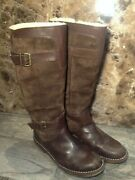Ugg Australia Dunwich 5187 Brown Suede Leather Shearling Lined Tall Boots Size 7