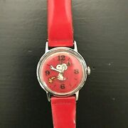 Vintage 1965 Snoopy Wind Up Watch Water Resistant Peanuts Woodstock Seconds Hand
