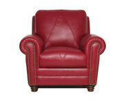 New Italian Leather Living Weston Cherry Red Italian Leather Set 2 Chairs Only