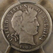 1903-s Barber Dime 10c Pcgs Certified Vg10