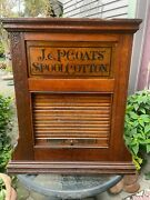 1880and039s Antique J.p. Coats Oak Spool Thread Store Table Top Display Case Cabinet