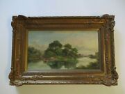 John Mundell Oil Painting Antique 19th Century River Lake Boat House Old Home