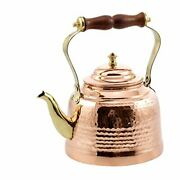 Old Dutch Hammered Copper Tea Kettle With Brass Spout And Wooden Handle 2 Qt.