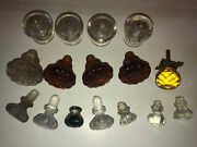 Lot Of Antique Glass Knobs Clear Amber Door Cabinet
