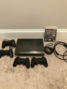 250gb Playstation 3 Ps3 Super Slim Console Bundle   4 Controllers And Game