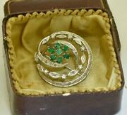 Antique French Belle-epoque 18k White Gold Diamonds And Emeralds Brooch.boxed
