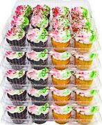 5 Plastic Cupcake Carrier Box 12 Slot Holder Container Disposable Tray