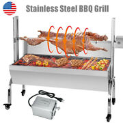 25w Rotisserie Grill Roaster 35 Inch Bbq Pig Lamb Stainless Steel Charcoal Spit