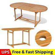 Patio Dining Table Indoor Kitchen Outdoor Wood Bistro Table With Umbrella Hole