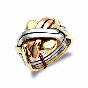 Mens Solid 9ct Yellow White And Rose Gold 6 Piece Puzzle Ring