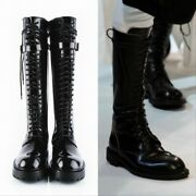 Ann Demeulemeester Tall Lace Up Patent Leather Combat Boots Black Womens Size 35