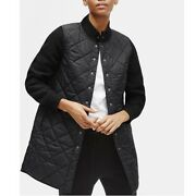 Eileen Fisher Quilted Nylon Wool Coat Long Bomber Jacket Black Women Xs New 428