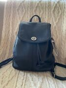 Coach® Backpack Purse Drawstring | Black Leather | No. H1313-f24385