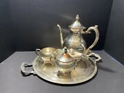 Vintage F.b. Rogers Silver Co. 1883 Silver On Copper 2391 Teapot Set