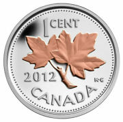 2012 Canada Silver With Selective Gold Plating 1 Cent Coin Farewell To The Penny