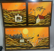 Disney Artist Don Aceto 70's Original Oil 3 Piece Learn To Fly Artist Signed