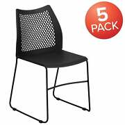 5 Pack 661 Lb. Capacity Stack Chair With Air-vent Back And Black