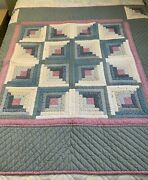 Vintage Quilt Log Cabin 59x59 Lap Or Wall Hand Quilted Cutter