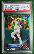 2016 Topps Chrome 1 Mike Trout Jumping Black Refractor - Psa 10 Pop 20
