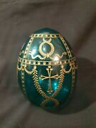 Old Faberge Imperial Egg Emerald Glass Egg Signed And Numbered Circa 1940and039s