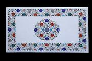 24x42 White Marble Dining Table Multi Stone Floral Inlay Decor With Stand W608