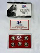 2005 S Silver United States Mint 50 State Quarter Silver Proof Set W/box And Coa