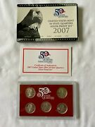 2007 S Silver United States Mint 50 State Quarter Silver Proof Set W/box And Coa