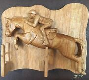Wood Carving Sculpture Beautiful Jumper Horse From Butternut. By Jim Fitzmaurice