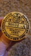 1938 Ny State Conservation Dept Citizen Resident Special Deer License Pin/pinbac