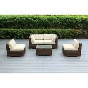 Ohana Outdoor Patio 5 Piece Mixed Brown Wicker Sectional
