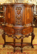 French Mixed Wood Inlaid Figural China Curio Liquor Cabinet Circa 1920and039s