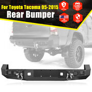 Black Rear Bumper For 05-15 Toyota Tacoma With License Plate Led Light And D-rings