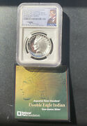 2017 1oz Double Eagle Indian Head High Relief Silver Pf70 Uc