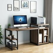 Writing Pc Table With Space Saving Design Office Desk With Printer Standandshelves