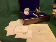 1987 Franklin Mint Faberge 24k Gold Jeweled Sleigh Rubies/pearls With Necklace