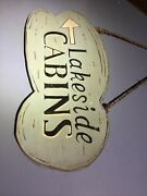 Vintage Lakeside Cabins Wood Wooden Sign Us Forestry Camp From Northern Maine