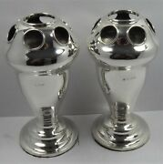 Rare Solid Silver Pair Of Vases