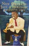 1995 Jazz Fest Poster Louis Armstrong By George Rodrigue Signed 1899/2500