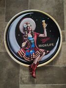 Miller High Life Beer Girl On The Moon With Bottle Tin Back Bar Sign Man Cave