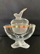Lalique Crystal Caviar Serving Bowl With Insert Frame And Bowl Igor Three Fish