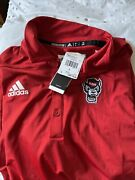 Adidas Tech Polo Ncaa Nc State Wolfpack Football Red Mens Sz L Ge1763