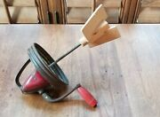 Antique Butter Churn Kitchen Mixer Red Metal Wood Crank Handle Paddles
