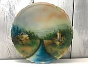 Germany Porcelain Fired Clay 1900s Handpainted 12 Antique Plate Stone Castles